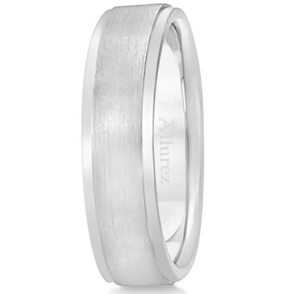 Men's Ridged Wedding Ring Band Satin Finish 14k White Gold (7mm)