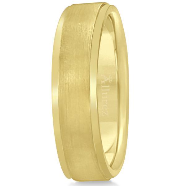 Men's Ridged Wedding Ring Band Satin Finish 14k Yellow Gold (7mm)