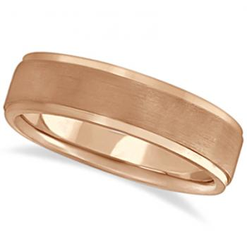 Custom Made Men's Ridged Wedding Ring Band Satin Finish 18k Rose Gold (6mm)