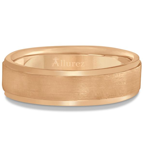 Men's Ridged Wedding Ring Band Satin Finish 18k Rose Gold (7mm)