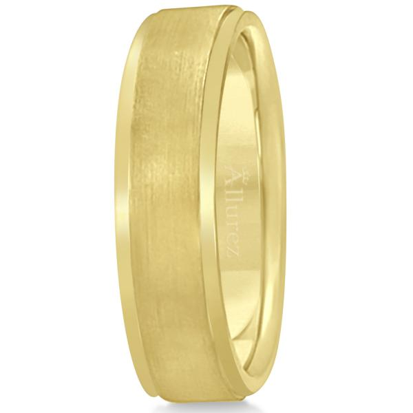 Men's Ridged Wedding Ring Band Satin Finish 18k Yellow Gold (7mm)