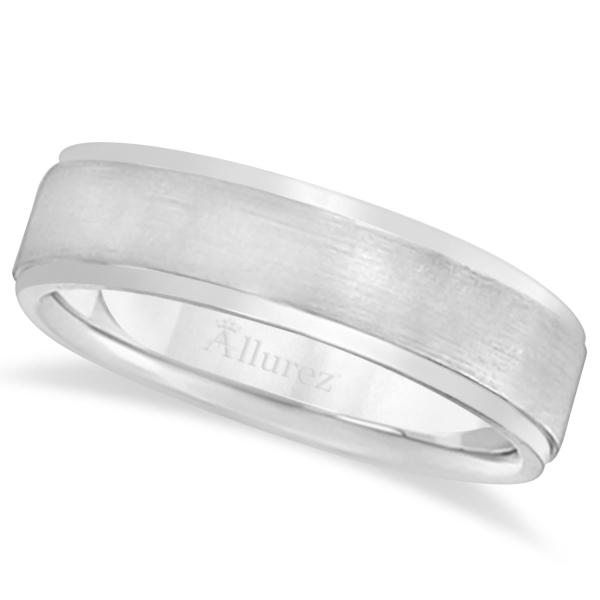 Men's Ridged Wedding Ring Band Satin Finish Palladium (7mm)