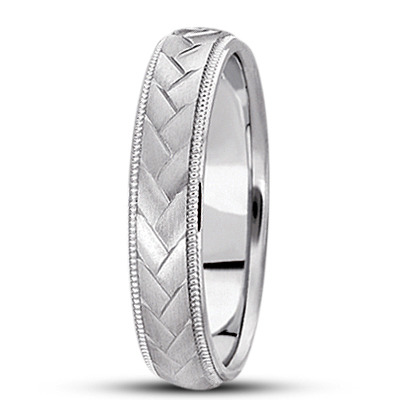 Braided Men's Wedding Ring Diamond Cut Band 14k White Gold (5 mm)