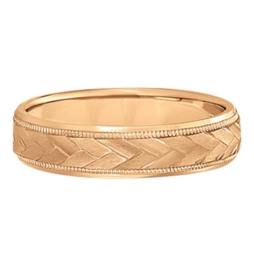 Braided Men's Wedding Ring Diamond Cut Band 14k Rose Gold (5mm)