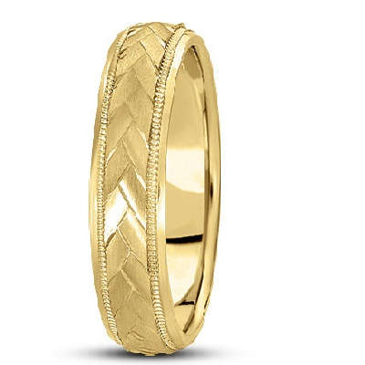 Braided Men's Wedding Ring Diamond Cut Band 18k Yellow Gold (5 mm)