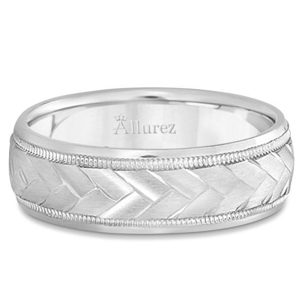 Braided Men's Wedding Ring Diamond Cut Band 14k White Gold (7 mm)