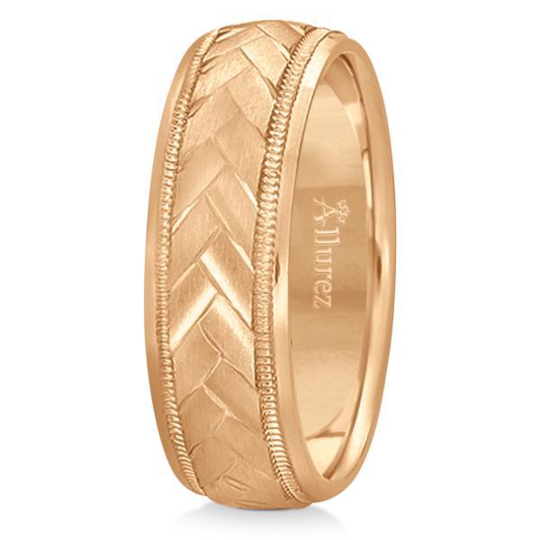 Braided Men's Wedding Ring Diamond Cut Band 14k Rose Gold (7mm)