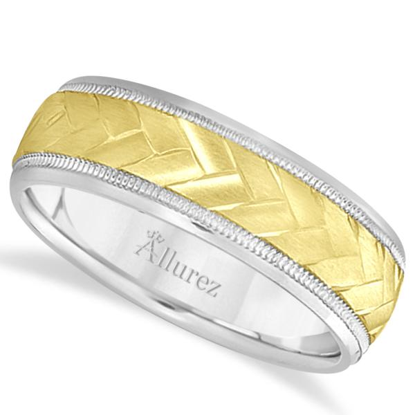Braided Men's Wedding Ring Diamond Cut Band 18k Two Tone Gold (7 mm)