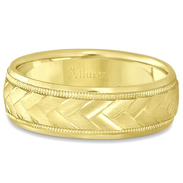 Braided Men's Wedding Ring Diamond Cut Band 18k Yellow Gold (7 mm)