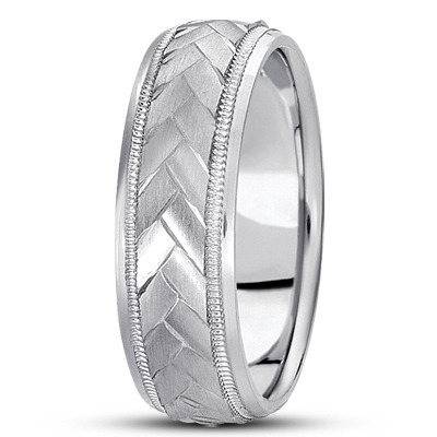 Braided Men's Wedding Ring Diamond Cut Band in Platinum (7 mm)
