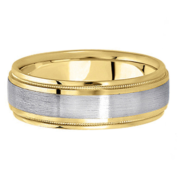 Carved Two-Tone Wedding Band in 18k White & Yellow Gold (7mm)