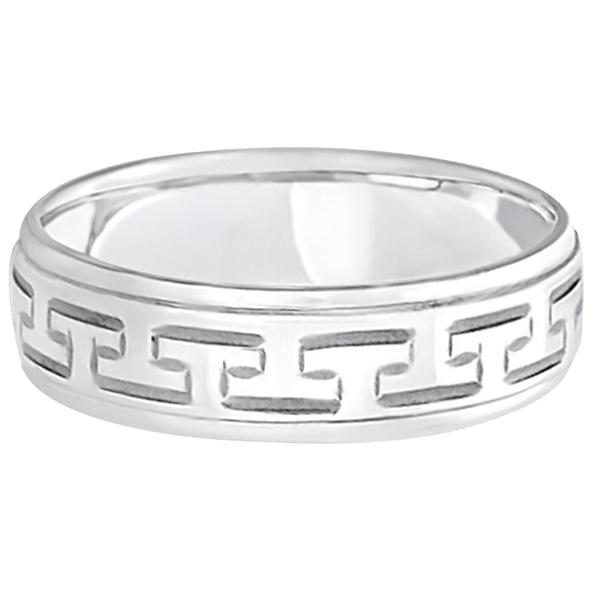 Greek Key Wedding Ring Modern Diamond-Cut 18k White Gold (5mm)