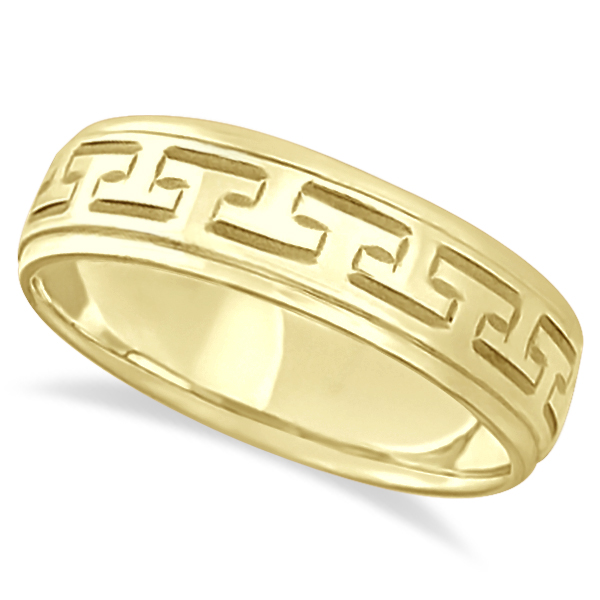 Greek Key Wedding Ring Modern Diamond-Cut 18k Yellow Gold (5mm)