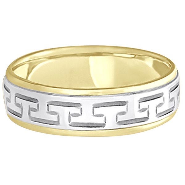 Greek Key Wedding Ring Modern Diamond-Cut 18k Rose Gold (5mm)