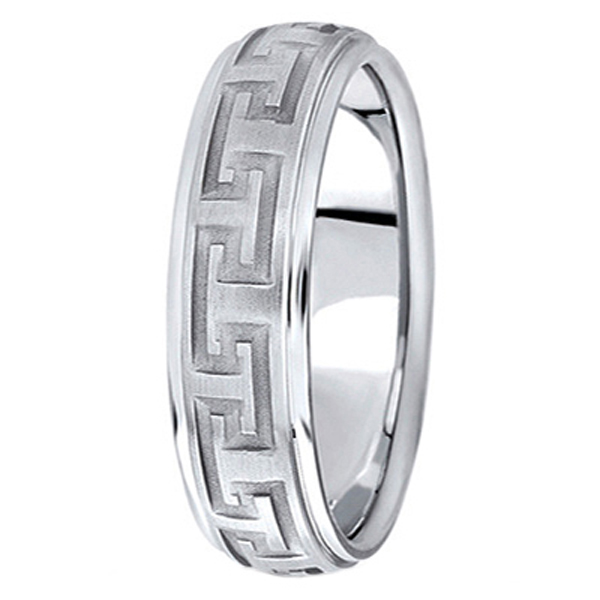Men's Diamond Cut Carved Wedding Band in 14k White Gold (5mm)