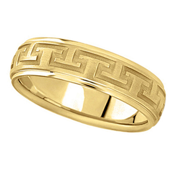 Men's Diamond Cut Carved Wedding Band in 14k Yellow Gold (5mm)