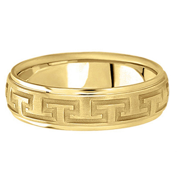 Men's Diamond Cut Carved Wedding Band in 18k Yellow Gold (5mm)