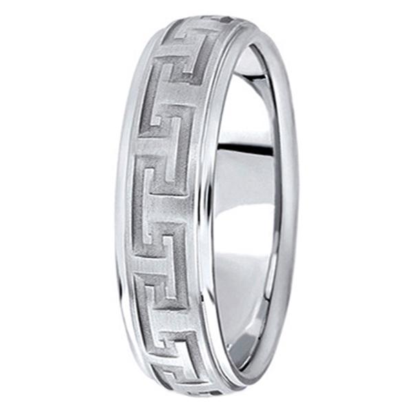 Men's Diamond Cut Carved Palladium Wedding Band (5mm)