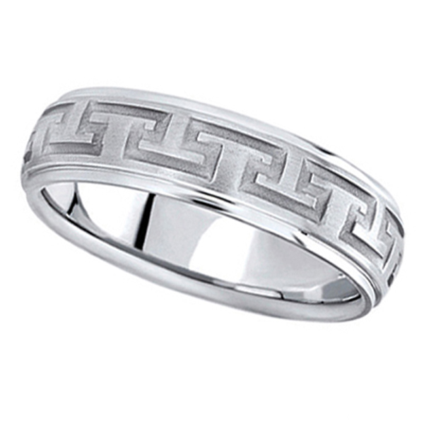 Men's Diamond Cut Carved Platinum Wedding Band (5mm)