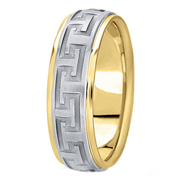 Men's Carved 14k Two-Tone Wedding Band (7mm)