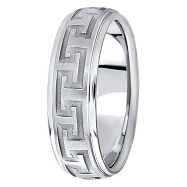 Men's Diamond-Cut Carved Wedding Band in 18k White Gold (7mm)