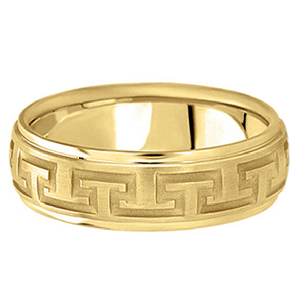 Men's Diamond Cut Carved Wedding Band in 18k Yellow Gold (7mm)
