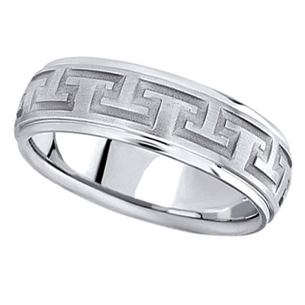 Men's Diamond Cut Carved Palladium Wedding Band (7mm)