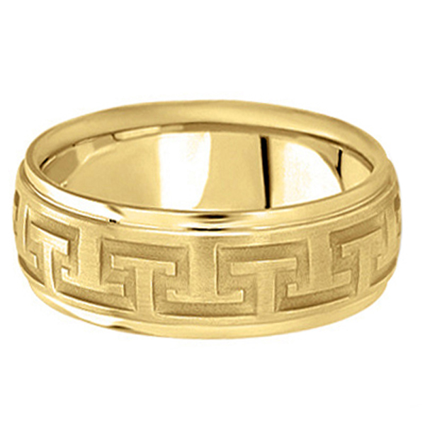 Men's Diamond Cut Carved Wedding Band in 14k Yellow Gold (9mm)