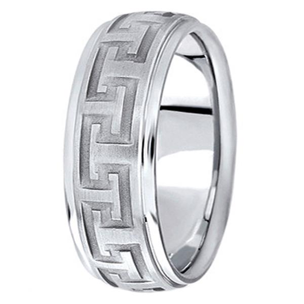 Men's Diamond Cut Carved Palladium Wedding Band (9mm)