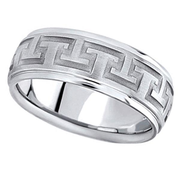 Men's Diamond Cut Carved Platinum Wedding Band (9mm)
