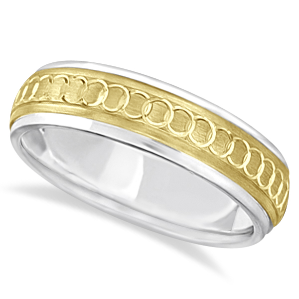 Infinity Wedding Band For Men Fancy Carved 18k Two Tone Gold (5mm)