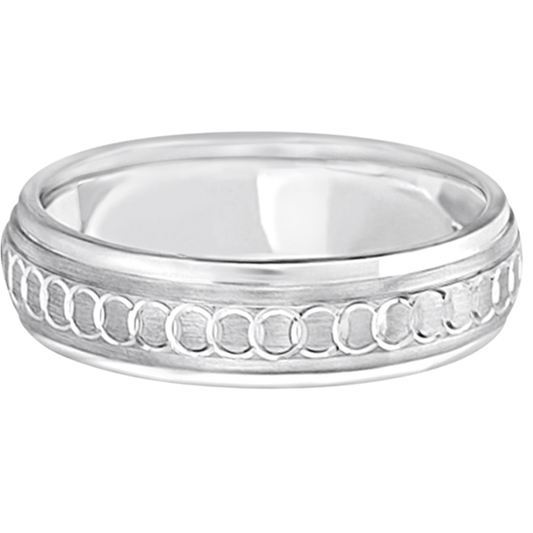 Infinity Wedding Band For Men Fancy Carved Platinum (5mm)