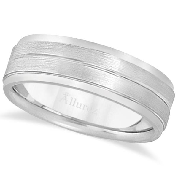 Carved Wedding Band in Palladium For Men (7mm)