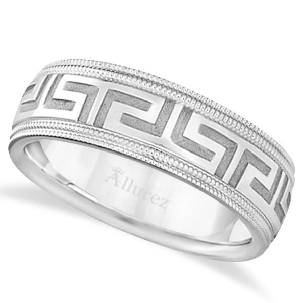 Milgrain Wedding Ring In Platinum 7mm: Men's Greek Key Wedding Ring With Milgrain Edges Platinum
