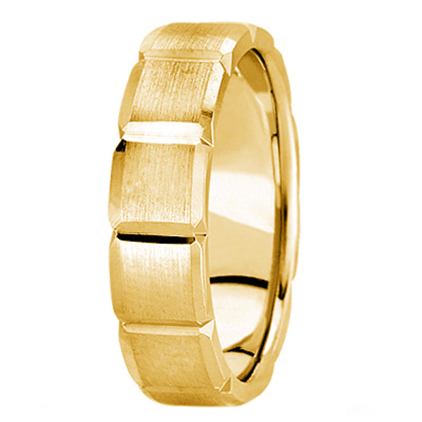 Diamond Carved Wedding Band For Men in 14k Yellow Gold (6mm)