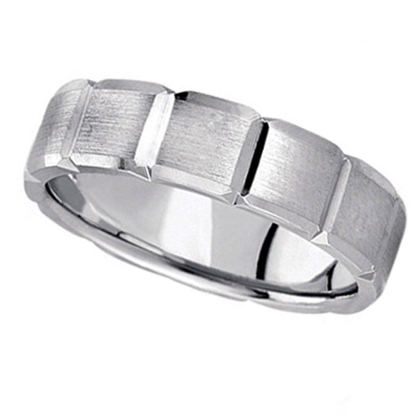 Diamond Carved Wedding Band For Men in Platinum (6mm)