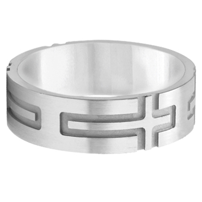 Mens Carved Wedding Ring Band Cross Shape Design 14k White Gold (7mm)