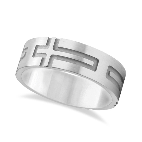 Mens Carved Wedding Ring Band Cross Shape Design 18k White Gold (7mm)