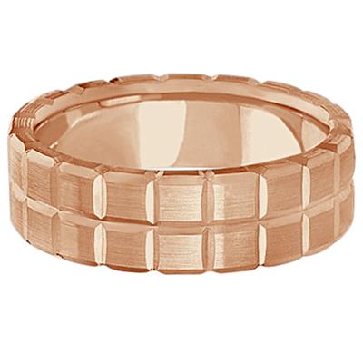Men's Carved Square Station Wedding Ring Band 18k Rose Gold (8mm)