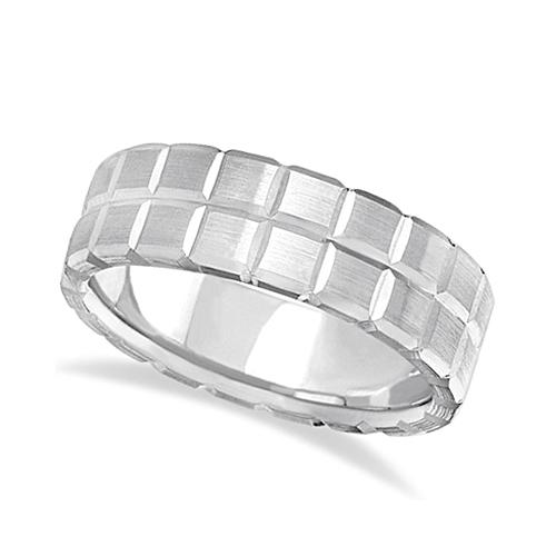 Men's Carved Square Station Wedding Ring Band 18k White Gold (8mm)