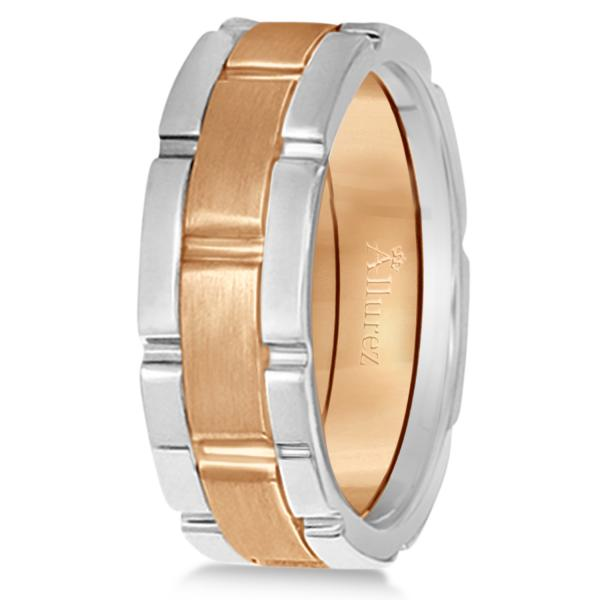 Comfort-Fit Two-Tone Wedding Band in 14k White & Rose Gold (8.5mm)