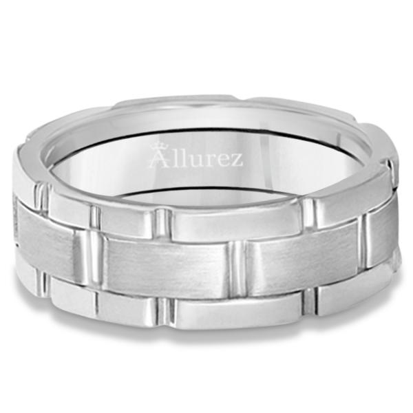 Unique Wedding Band Comfort-Fit in 14k White Gold (8.5mm)