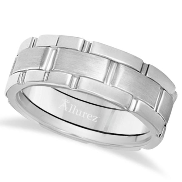 Unique Wedding Band Comfort-Fit in 18k White Gold (8.5mm)