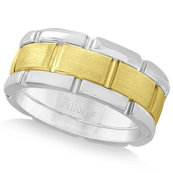 Comfort-Fit Two-Tone Wedding Band in 18k White & Yellow Gold (8.5mm)
