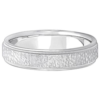Men's Diamond Cut Inlay Carved Wedding Band Palladium (5mm)