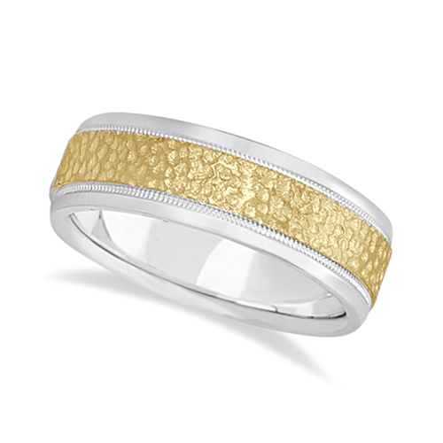 Men's Diamond Cut Inlay Carved Wedding Band 14k Two-Tone Gold (7mm)