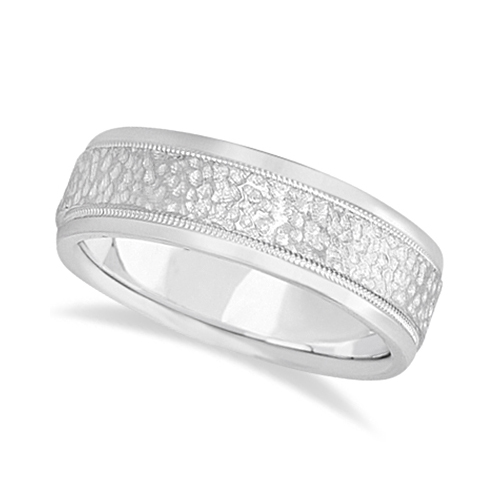 Men's Diamond Cut Inlay Carved Wedding Band 18k White Gold (7mm)