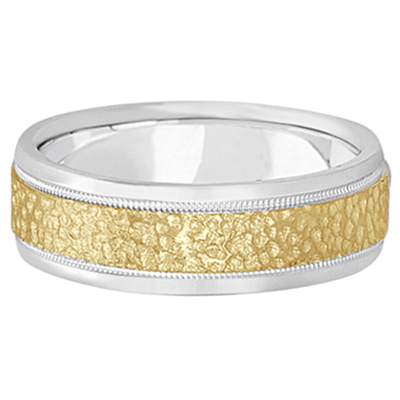 Men's Diamond Cut Inlay Carved Wedding Band 18k Two-Tone Gold (7mm)