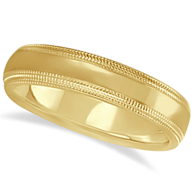 Shiny Double Milgrain Carved Wedding Ring Band 14k Yellow Gold (4mm)