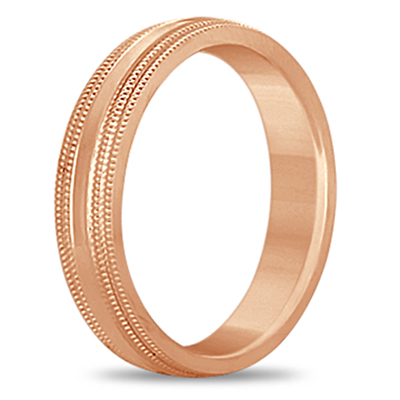Shiny Double Milgrain Carved Wedding Ring Band 18k Rose Gold (4mm)